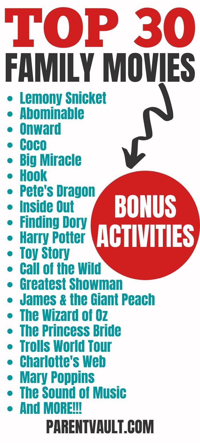 30 Family Movies That Kids Love (Bonus Movie Activities Too!)