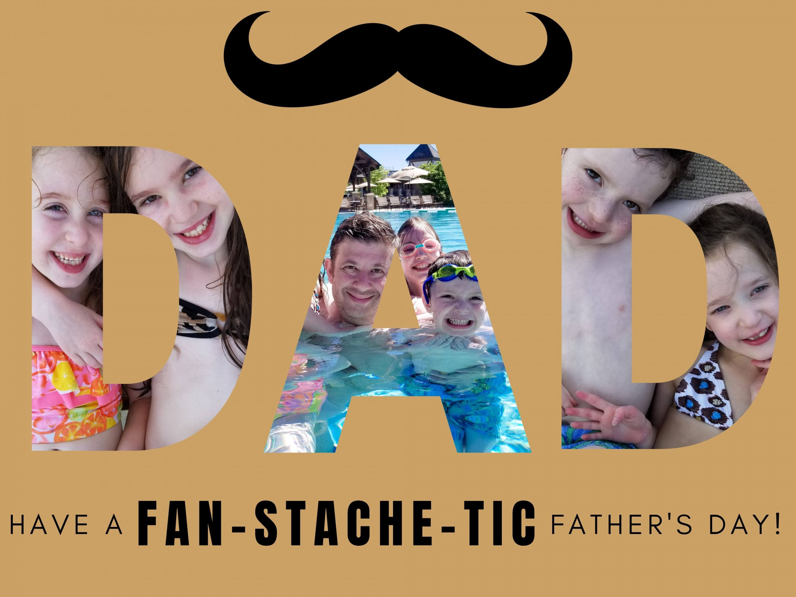 "Free Father's Day eCard with a mustache that says ""Have a Fan-STACHE-tic Father's Day!"""