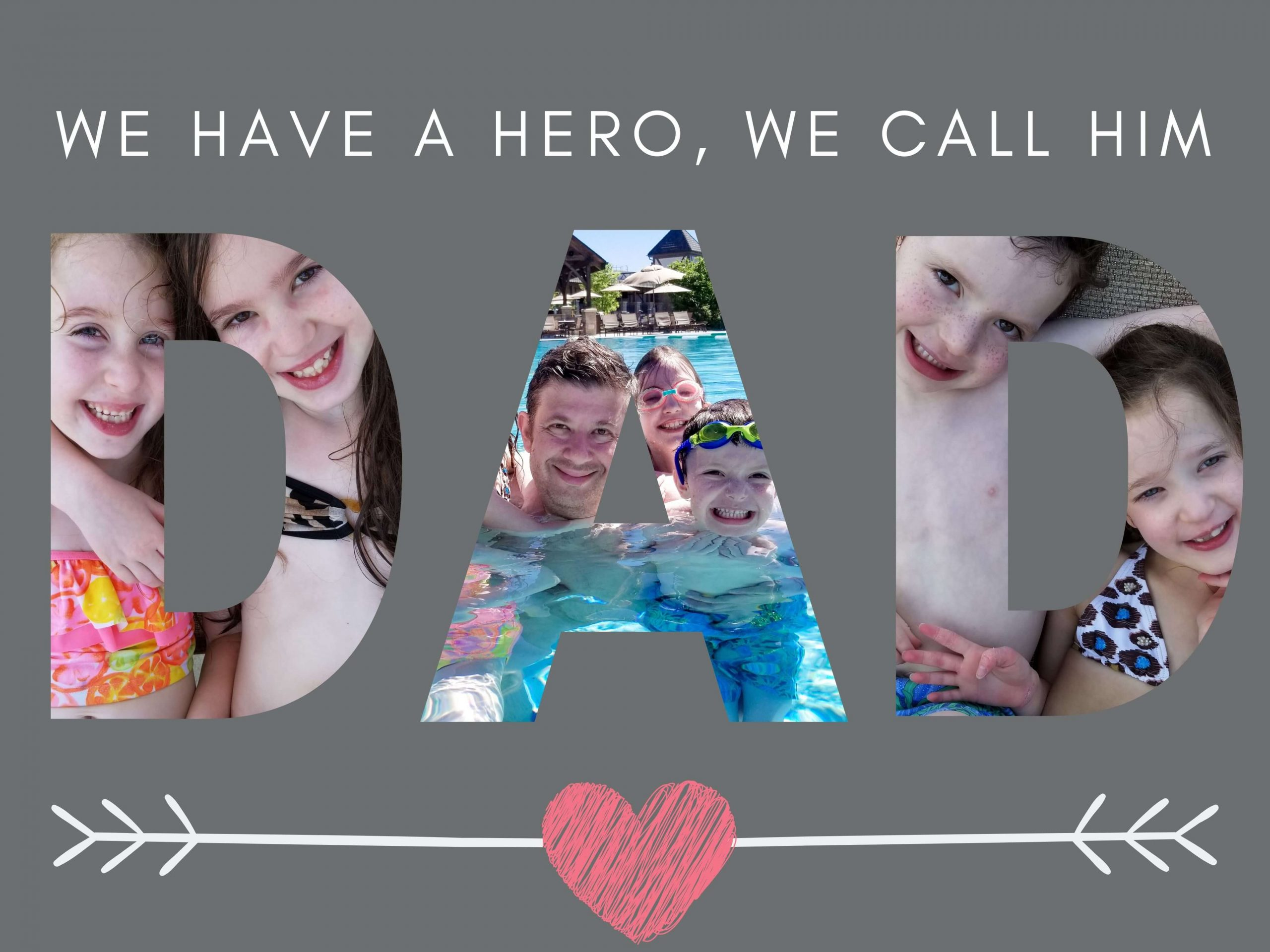 "Free Father's Day eCard that says ""We Have a Hero, We Call Him Dad"""