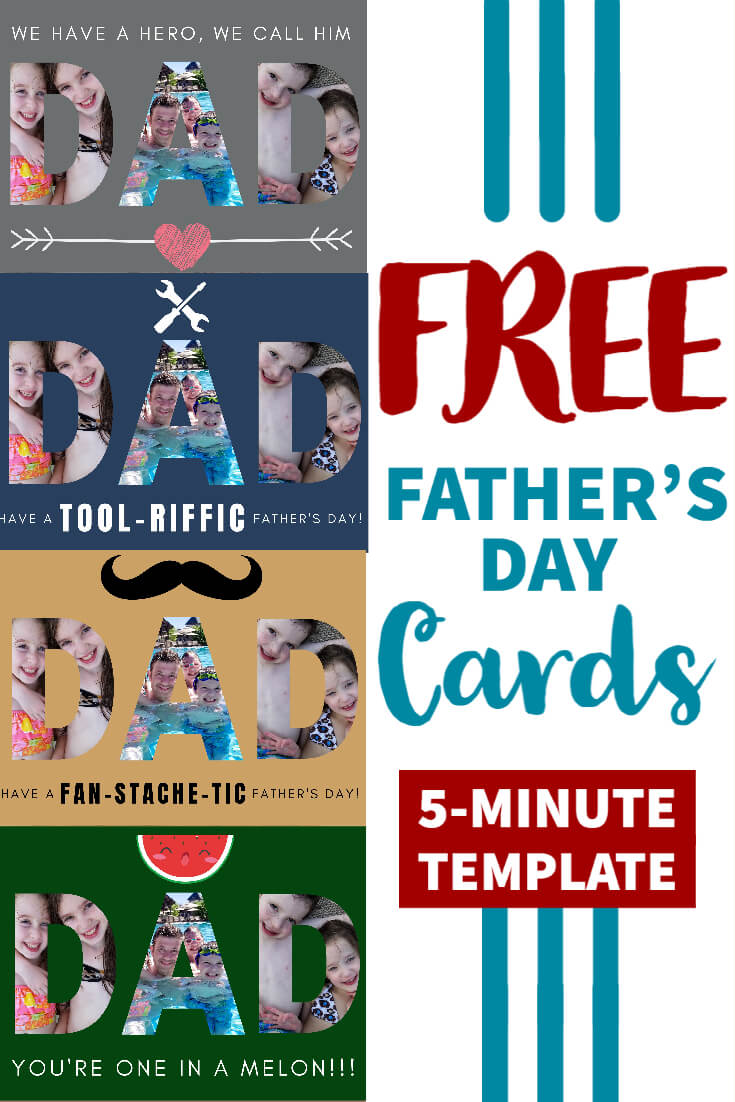 Free Father's Day eCards with a custom photo template tutorial, to make dad feel special on his big day!