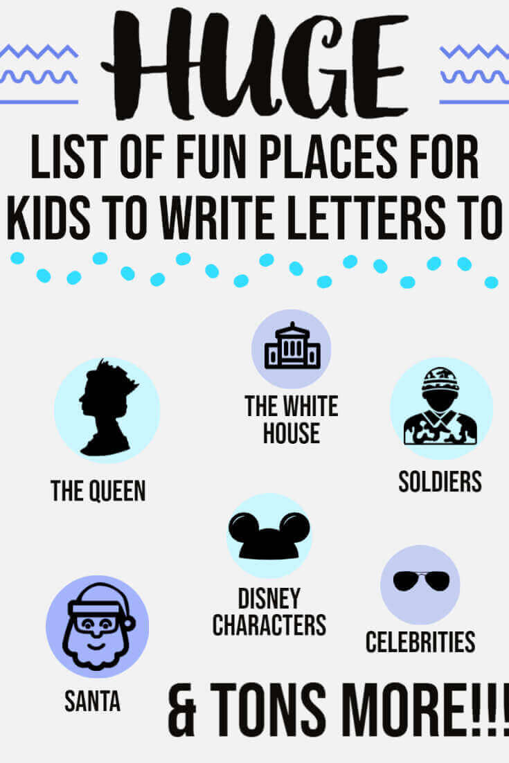 List of fun places for kids to write letters to, like Disney World, Disney Land, The Queen, Santa, The White House, the Pope and lots more!