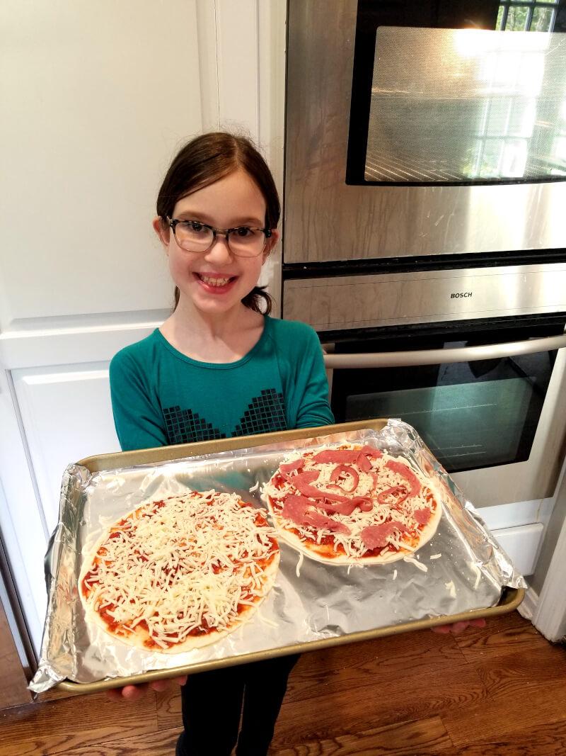 Easy pizza recipe: flour tortilla pizzas before baking