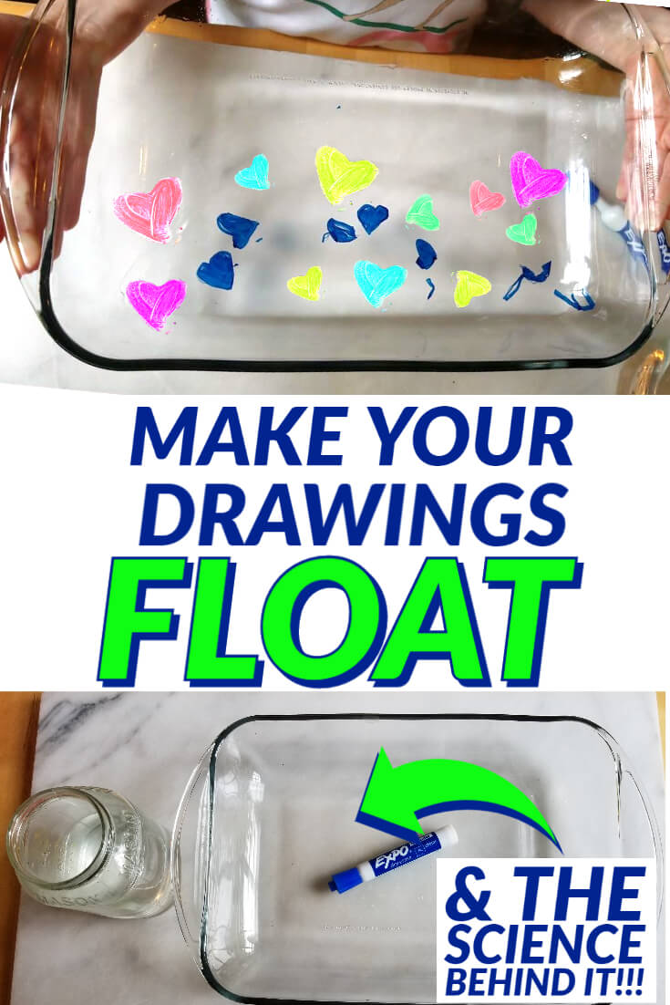Make your drawings float with this science experiment for kids! All you need is a dry erase marker, a pyrex glass dish and a cup of water!
