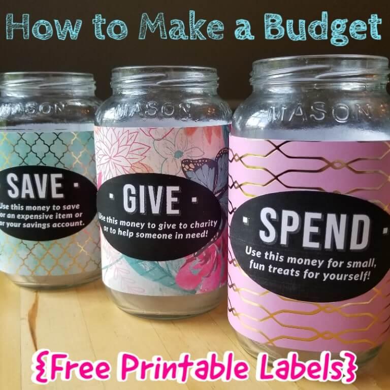 3 Allowance Jars - Free Printable Labels