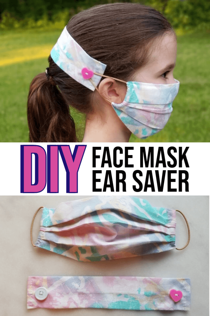 DIY Face Mask Ear Saver Strap with Buttons + Fabric