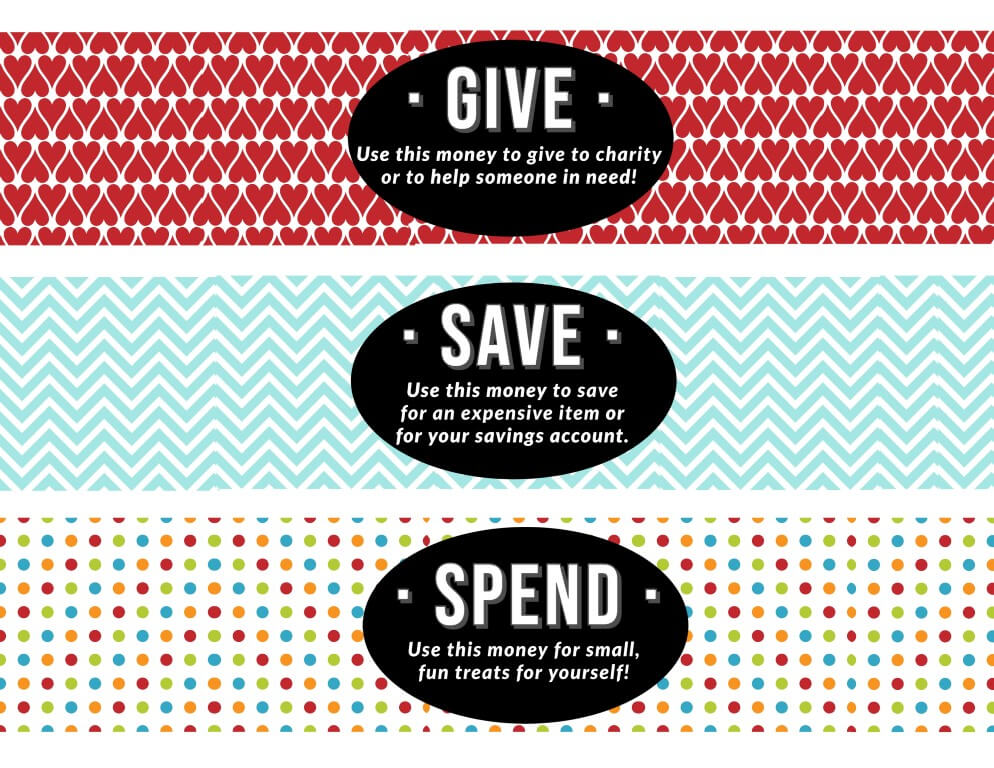 DIY Spend Save Give Jar - Free Printables