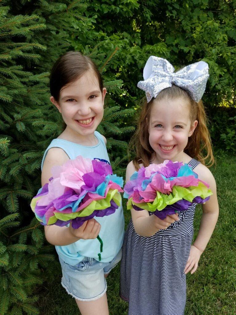 DIY tissue paper flower birthday decorations