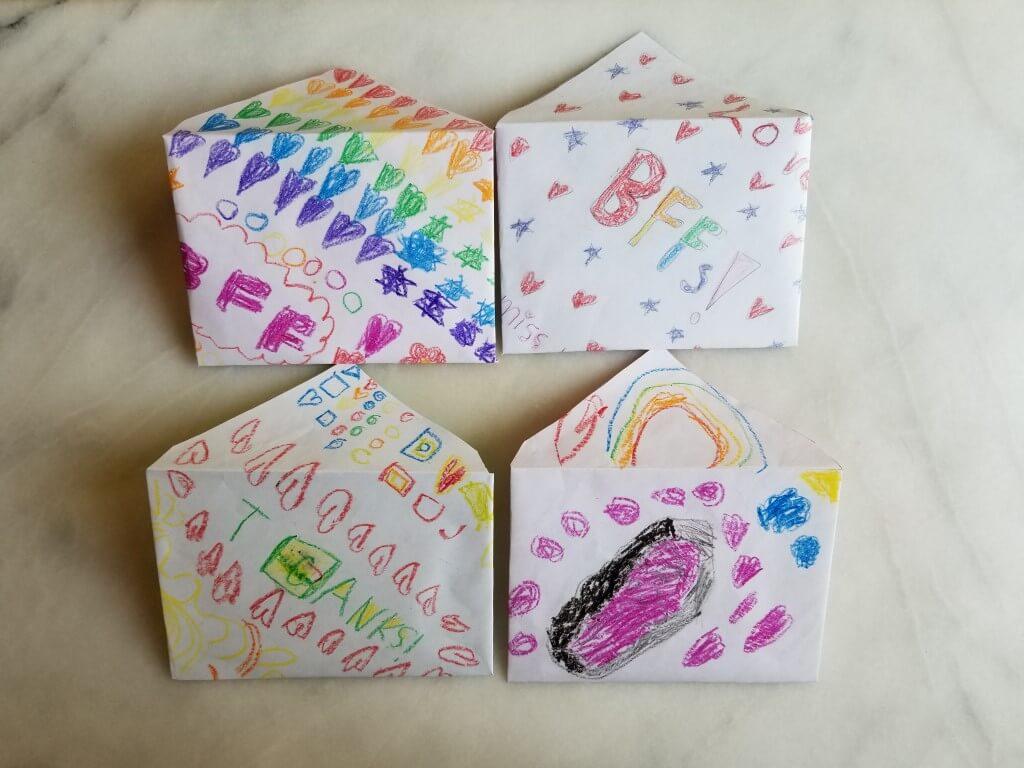 how to make envelopes with kids artwork