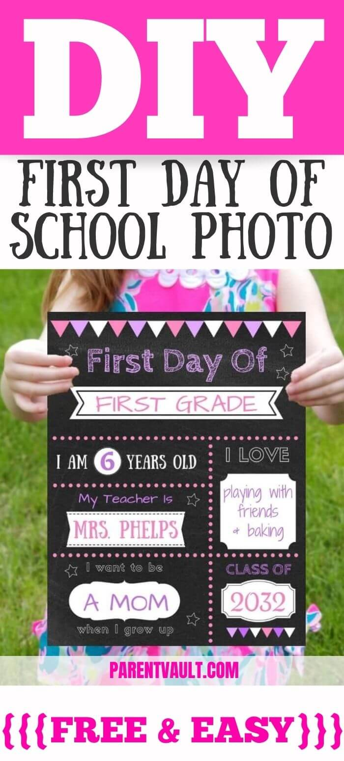 DIY first day of school chalkboard photo printable