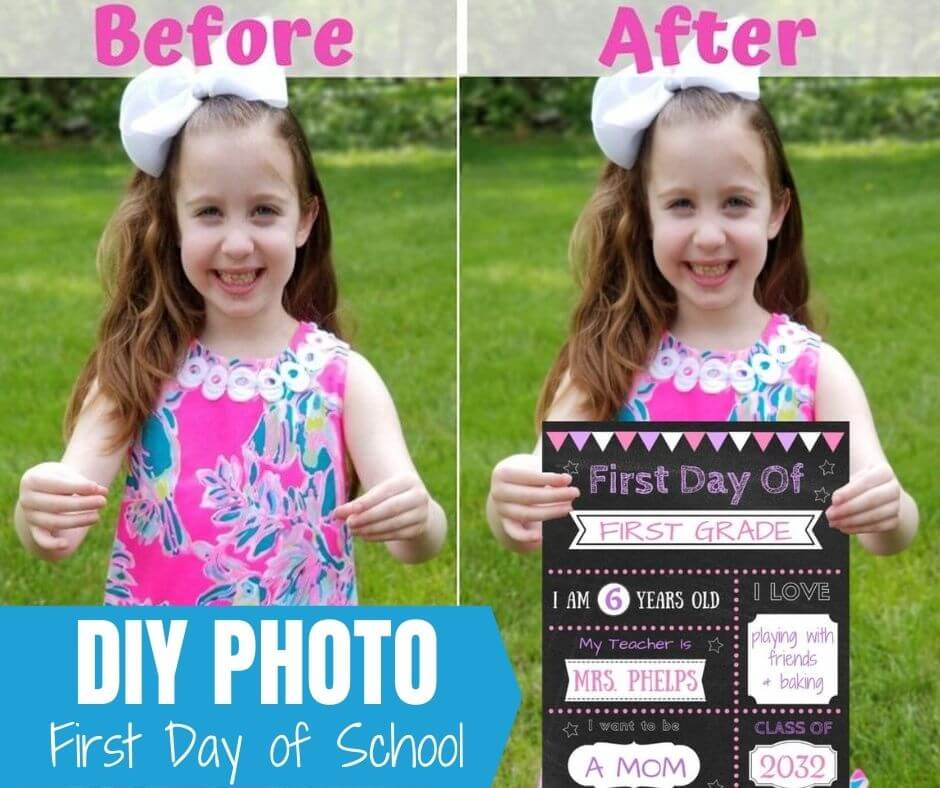 DIY photo edit first day of school canva